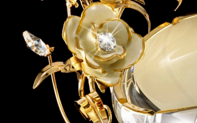 Elegant luxury european style gold jeweled rose