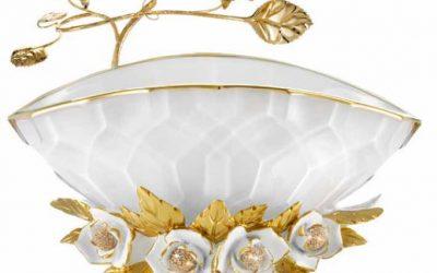 Classic white gold ceramic luxury european flower vase